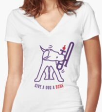 Give A Dog A Bone Women's Fitted V-Neck T-Shirt