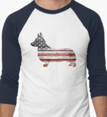Patriotic Corgi Men's Baseball ¾ T-Shirt