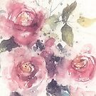 Dreamy pink roses, watercolor painting by aquaarte
