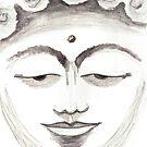 BUDDHA FACE GREY by dkatiepowellart