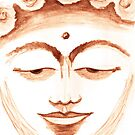 BUDDHA FACE SEPIA by dkatiepowellart