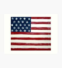 Abstract Painting, Large Wall Art Print of DISTRESSED FLAG, american flag art  Art Print
