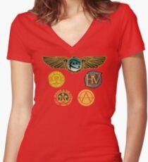 Camiseta entallada de cuello en V Logotipos de Rick Riordan