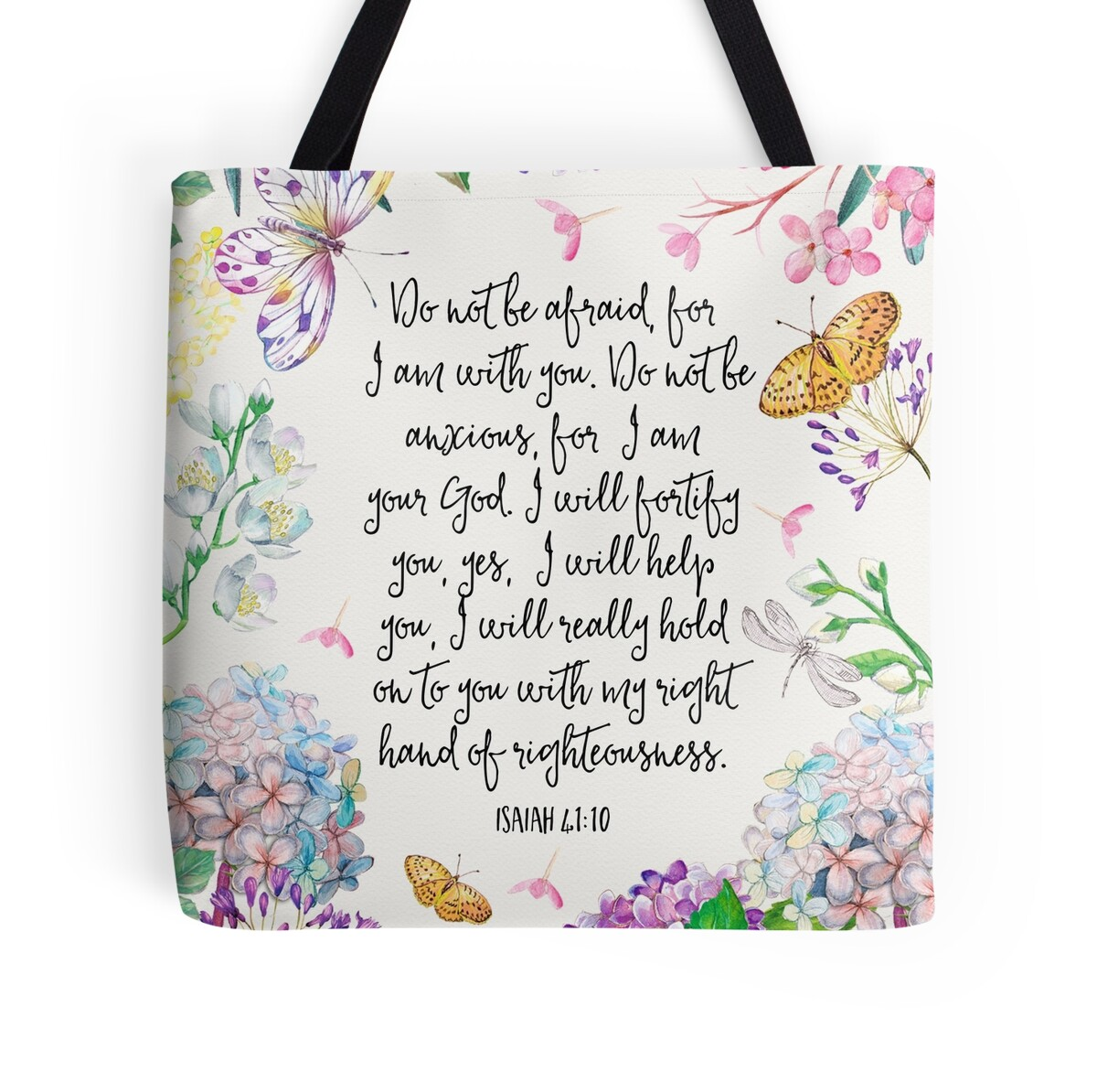 Isaiah 41 10 flowers and butterflies tote bags by jw for Arts and crafts tote bags