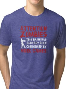 Attention Zombies Tri-blend T-Shirt