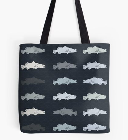 Barramundi Repeat Throw Pillow Dark Tote Bag