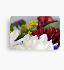 Macro on colorful flower petals. Canvas Print