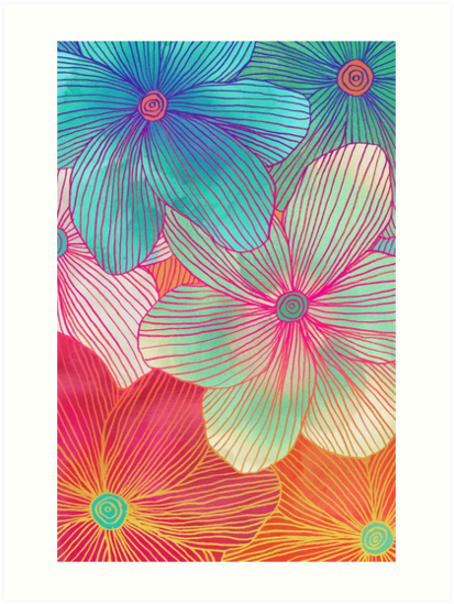Between the lines tropical flowers in pink orange blue mint between the lines tropical flowers in pink orange blue mint by micklyn mightylinksfo