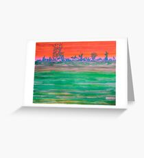 Landscape with Striped Field Greeting Card