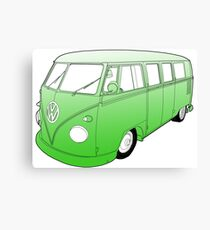 Green VW Camper Canvas Print