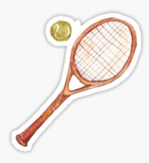 Pegatina raqueta de tenis con una pelota de tenis