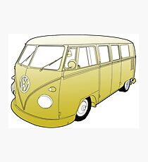 Yellow VW Camper Photographic Print