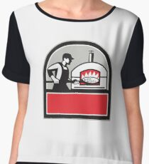 Pizza Cook Peel Wood Fired Oven Crest Retro Women's Chiffon Top