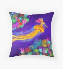 Jellyfish Mermaid! Throw Pillow