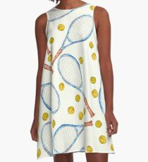 pattern with tennis rackets with tennis balls A-Line Dress