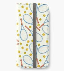 pattern with tennis rackets with tennis balls iPhone Wallet/Case/Skin