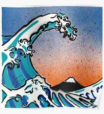 Great Wave off Kanagawa Stencil Art Poster