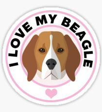 Love My Beagle Dog Sticker
