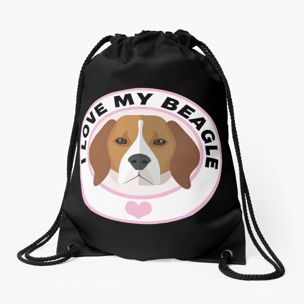 Love My Beagle Dog Drawstring Bag Front