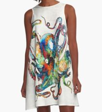 Colorful Octopus Art by Sharon Cummings A-Line Dress