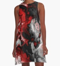 Black red gray and white abstract 2 A-Line Dress