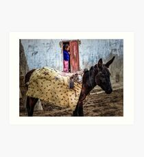 young girl at the door to her house with a donkey. Photographed in Wadi Qelt  Art Print