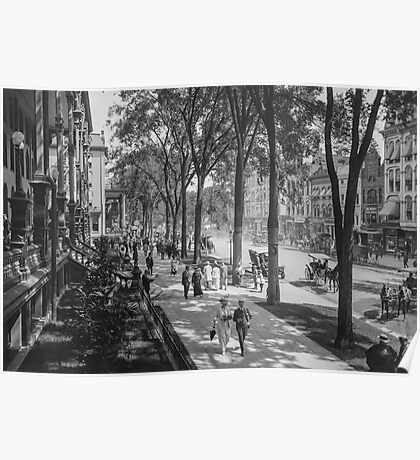 Broadway in Saratoga Springs, New York, ca 1915 (full size) Black & White version Poster