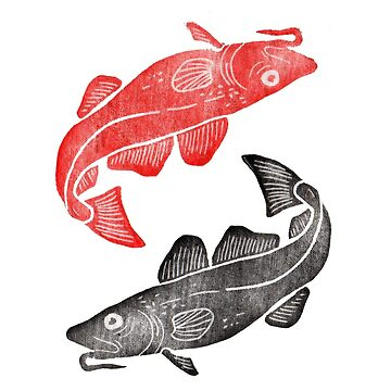 Linocut Fishes by adovemore