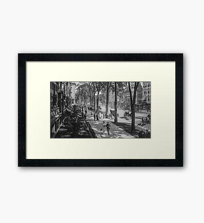 Broadway in Saratoga Springs, New York, ca 1915 (16:9 crop) Black & White version Framed Print