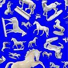 Porcelain Horses on Bold Blue 2016 by lightsight
