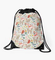 Rainbow deer in field of flora Drawstring Bag