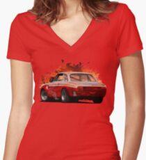 Exploding Sunset Women's Fitted V-Neck T-Shirt