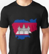 Cambodia Map With Cambodian Flag Unisex T-Shirt