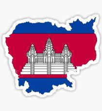 Cambodia Map With Cambodian Flag Sticker