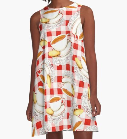 Red Gingham and Teacups A-Line Dress