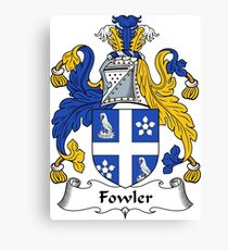 Fowler Coat of Arms / Fowler Family Crest Canvas Print