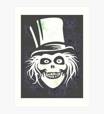 HATBOX GHOST WITH GRUNGY HAUNTED MANSION WALLPAPER Art Print