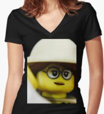 Lego Paleontologist Women's Fitted V-Neck T-Shirt