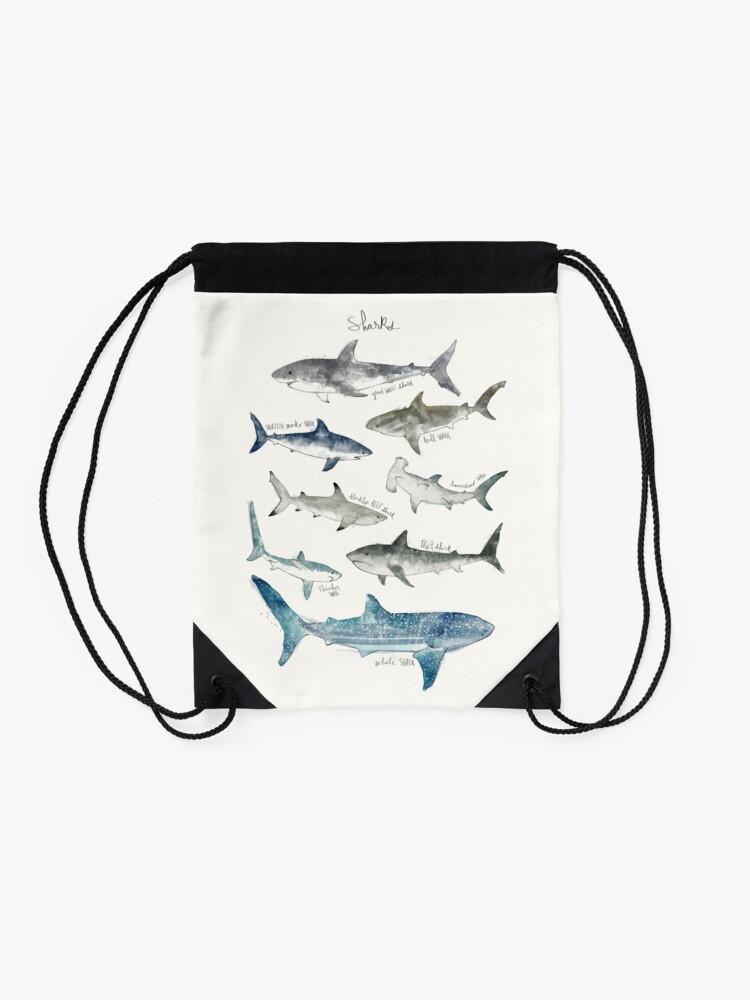 Alternate view of Sharks - Landscape Format Drawstring Bag
