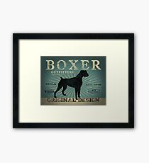 VINTAGE BOXER DOG ORIGINAL ART PRINT Framed Print