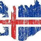 Iceland Distressed Map Flag by Carl Greenwood