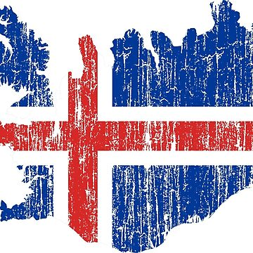 Iceland Distressed Map Flag by Carl-Greenwood