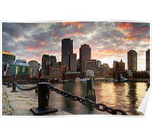 Boston Harbor Clouds Poster