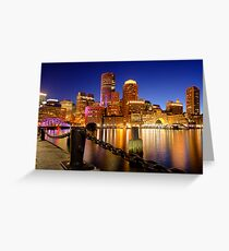 Boston Harbor Cityscape Greeting Card