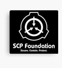 SCP Foundation (in Weiß) Leinwanddruck