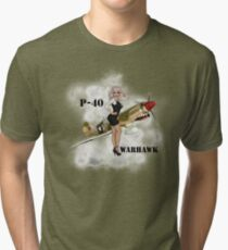 P-40 Pin Up Art Tri-blend T-Shirt
