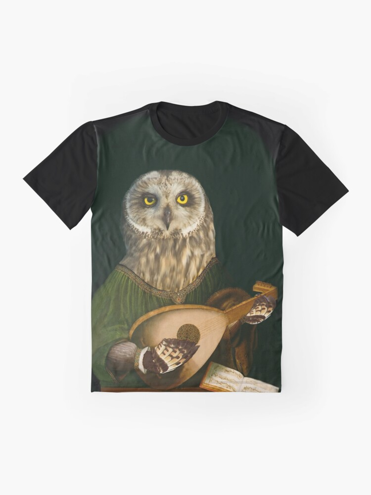 Alternate view of Owl Playing the Lute - Composite Painting Graphic T-Shirt