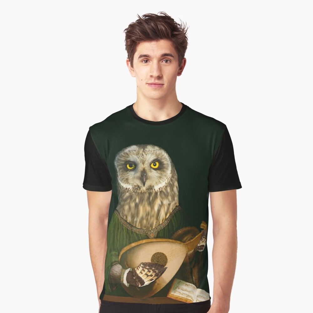 Owl Playing the Lute - Composite Painting Graphic T-Shirt