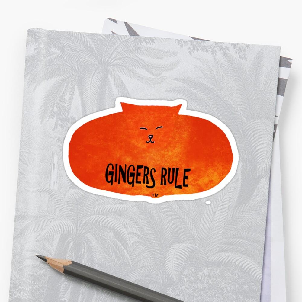 Gingers Rule Funny Orange Cartoon Cat by TammyWinandArt