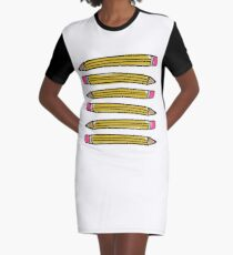 School Pencils Graphic T-Shirt Dress